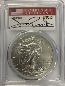 2012-W Burnished SIlver Eagle PCGS SP70 Jim Peed Signed