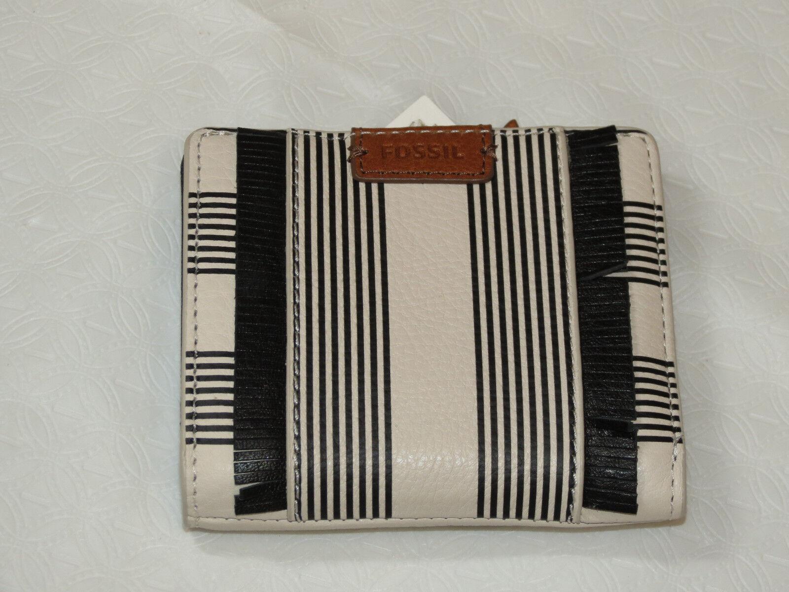 Fossil SL7474080 Emma Mini Wallet Black Stripe Multi RFID leather NWT ^