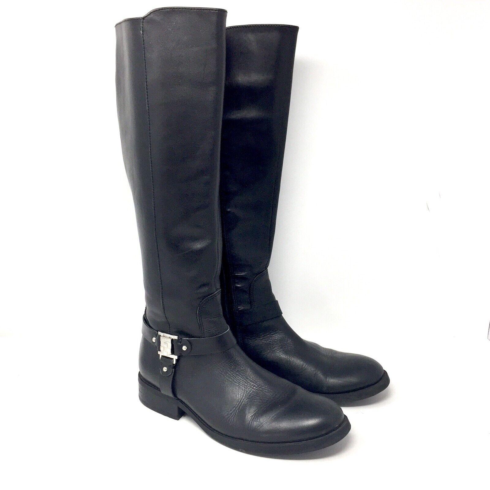 Vince Camuto Farren Tall Cuir noir bottes Moto Harnais Femme Taille 8 M excellent état utilisé