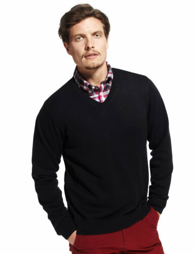 Marks /& Spencer Mens Pure Cotton V Neck Jumper New M/&S Sweater Pullover Top