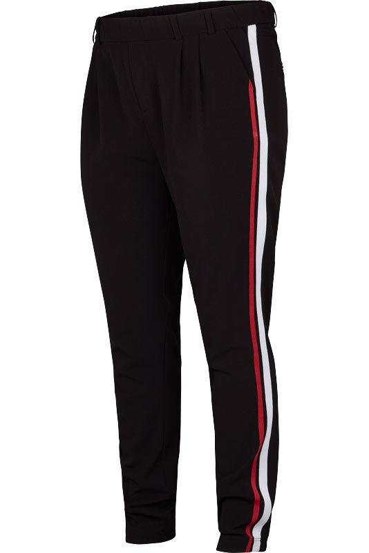 Adia Fashion En Tissu Pantalon Avec Bandes Latérales Noir Taille 48