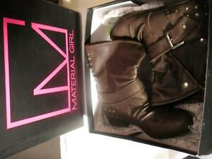 NEW-Material-Girl-Ankle-Boots-Brown-Leather-Womens-US-Size-6-5-M-Studs-1-034-Heel