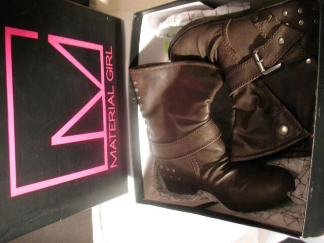Material Girl Ankle Boots Brown Leather Womens US Size 6.5 M Soft Lined Booties