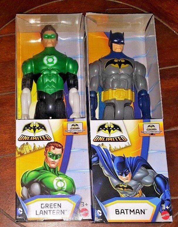 Batman Unlimited 12  Poseable Action Figures  blueE GREY BATMAN + GREEN LANTERN
