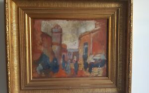 Scene-orientaliste-Cadre-style-empire-a-la-feuille-d-039-or