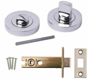 Bathroom Thumb Turn & Release Chrome 64mm Dead Bolt Toilet ...