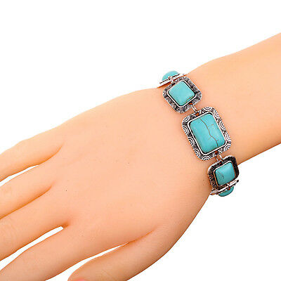 Square Blue Turquoise Bangle Link Bead Tibetan Silver Bracelet Party jewelry