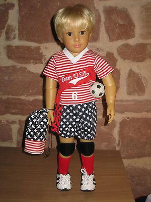 7-tlg Jungen Fußballset, Puppenkleidung, 46cm Steh Puppe, ohne Kidz`n Cats Puppe