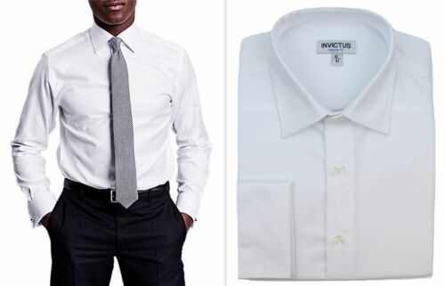Mens Formal Shirt Invictus Regular Fit Easycare Cotton Double French Cuff