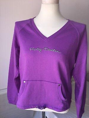 Harley-Davidson Women/'s violet purple Light weight v-neck sweatshirt Medium