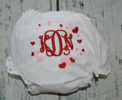 CUSTOM Personalized Valentines Hearts Monogram Baby Bloomers Diaper Cover