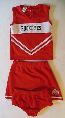 Girl's OHIO STATE BUCKEYES Cheer Uniform 4T Brief Shirt Skirt Cheerleading