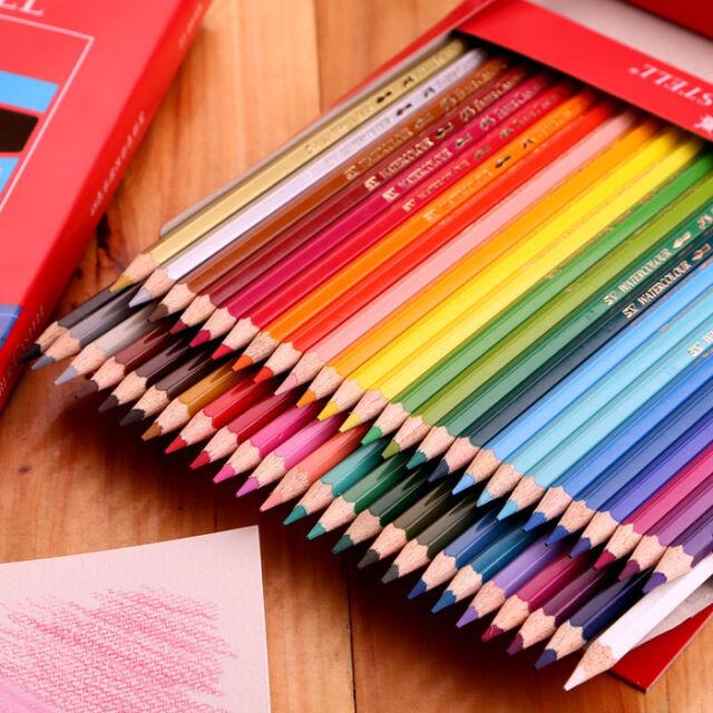 colored 48 colors watercolor drawing pencils set faber