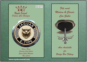 Trempé Royale Voiture Grill Badge + Raccords-jaguar E Type-b2.0277-afficher Le Titre D'origine