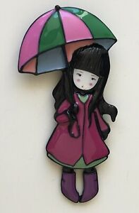 Adorable-Girl-holding-umbrella-Pin-Brooch-in-enamel-on-Metal