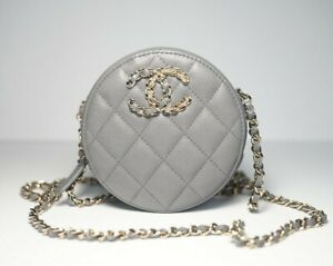 AUTH CHANEL CLUTCHES WITH CHAIN GRAY ROUND GOLD SILVER SHINY CAVIAR LEATHER