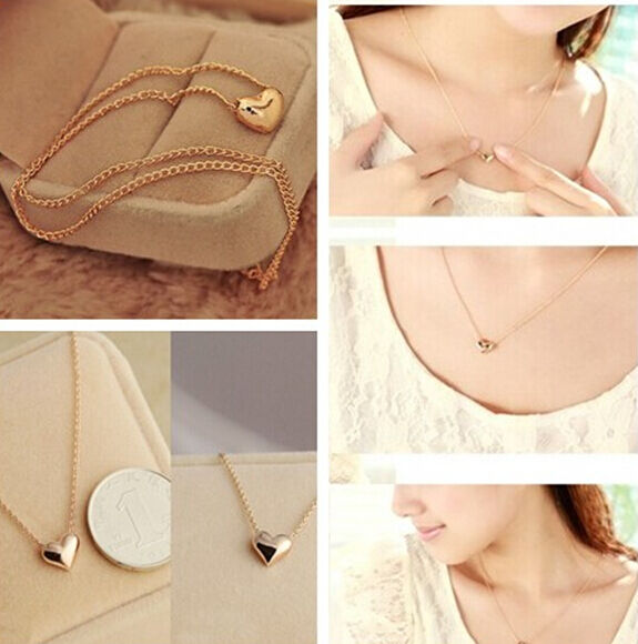 new hs55 women Gold Plated Heart Bib Statement Chain Jewelry Pendant Necklace
