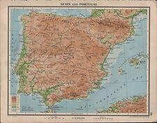 1939 Mapa ~ España & Portugal Madrid Cordillera Cantábrica Bética Málaga Pirineos