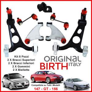 KIT-BRACCI-SOSPENSIONE-ANTERIORI-ALFA-ROMEO-156-147-GT-8-PEZZI-ORIGINAL-BIRTH