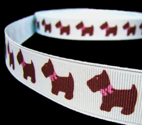 "5 Yards Dog Pet Puppy Scotty Grosgrain Ribbon 7//8/""W Blue Pink bin"