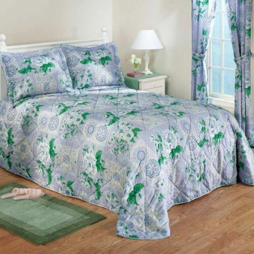 Belle Fleur Spring Garden verde blu Flower Floral Quilted Bedspread Set Full