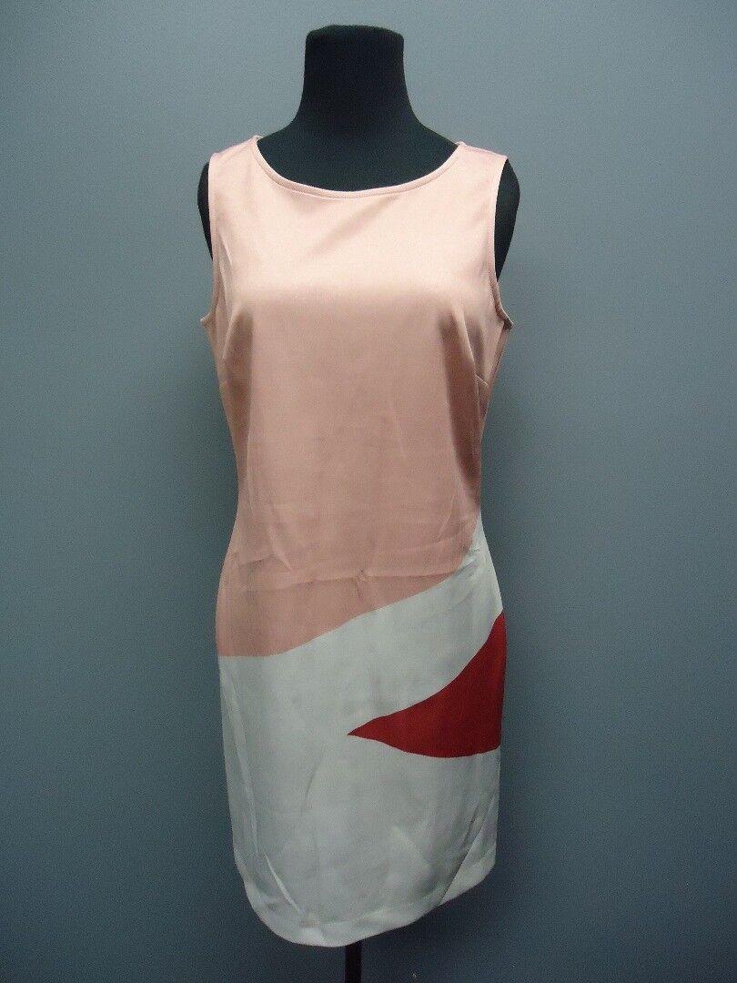 LE GALERISTE Pink White Sleeveless Knee Length Dress Sample NWT Sz S EE9095