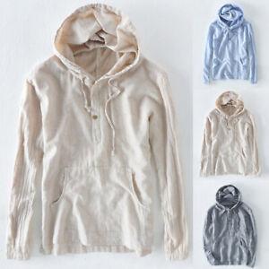 Men-039-s-Striped-Cotton-Linen-T-Shirt-Causal-Long-Sleeve-Hoodies-Hoodies-Hippy-Tops