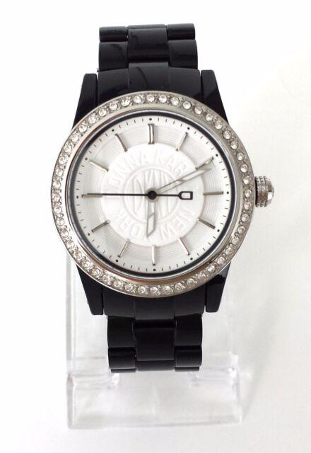 DKNY Damen Uhr schwarz weiß Kunststoff Steine NY8012 Neu OVP