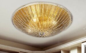 Plafoniere Vetro Trasparente : Plafoniera rotonda in vetro trasparente e metallo oro coll. dese