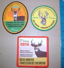 3 ONTARIO MNR DEER HUNTING PATCHES 2014,15,16 moose,bear,patch,hunter,crest