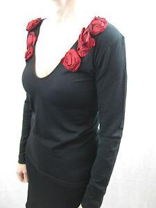 Breathless-Size-M-L-or-14-Black-V-Neck-Red-Rose-Blouse