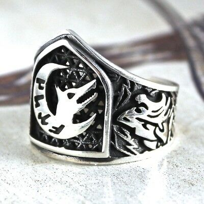 Thumb Ring 925 Sterling Silver Archers Ring Unique Turkish Jewelry Zihgir Wolf