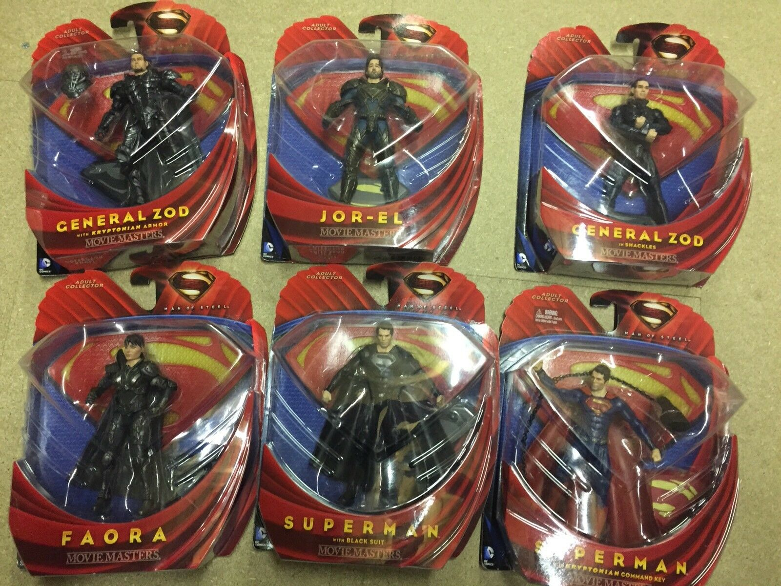 MATTEL MAN OF STEEL MOVIE MASTERS LOT GENERAL ZOD, JOR-EL, FAORA, SUPERMAN NEW