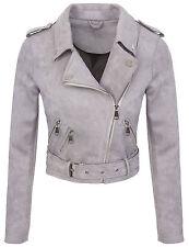 Designer Damen Übergangs Jacke Wildlederoptik Sommer Jacke kurz Jacke D-315 S-XL