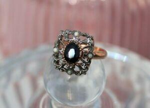 Bague-ajustable-argent-or-rose-en-Saphir-Perles-Style-ancien-NEUF-Ring
