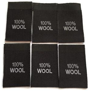 100% Lana Negra Tejida Tag Etiqueta sew-in de la confección de prendas de vestir Etiquetas Tejidas Negro Etiquetas