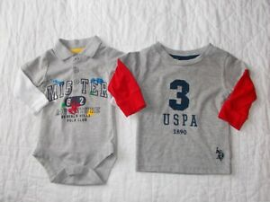Boys-Infant-Lot-of-2-US-Polo-Assn-One-Piece-amp-Long-Sleeve-Shirt-Size-3-6-Months
