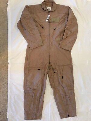 NEW NOMEX US ARMY Flight Suit CWU 27P Flyers Tan Coveralls 44S Mechanic Jumpsuit