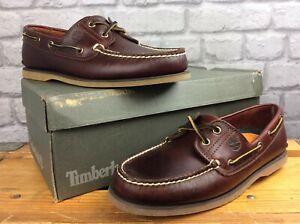 Timberland-Homme-UK-9-5-EU-44-Marron-Classique-2-Eye-Cuir-Chaussures-Bateau-Rrp-110-E