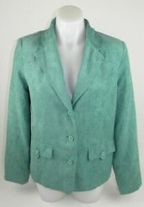 Alfred-Dunner-Green-Long-Sleeve-Lined-Blazer-Suit-Jacket-Women-039-s-8-Polyester-P