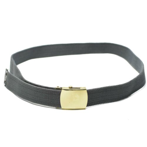 Canvas army military casual grey belt with gold buckle unisex military surplus