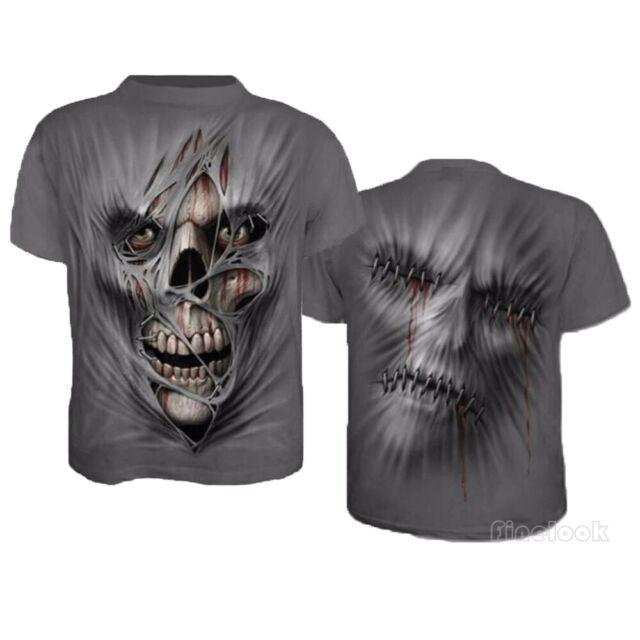 Men Funny Skull 3D Print Casual T-Shirt Fashion Crew Neck Short Sleeve Tops Tee
