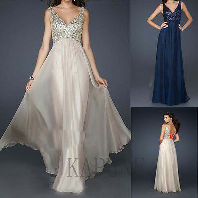 Long V-Neck Chiffon Sequins Women's Evening Dress Formal Party Dress Prom Gowns
