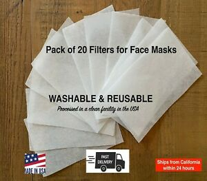 Face Mask Filters 20 Pack Pellon Insert for Pocket | Universal Filter for Masks