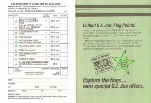 Green FLAK mail away offer Cobra JTC P280 1985 GI Joe TEAM MEMBERS ONLY insert