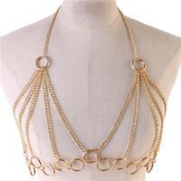 37 Gold Ring Link Choker Collar Necklace Bra Body Chain Swim Suit Bikini