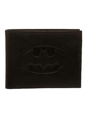 OFFICIAL DC COMICS BATMAN SYMBOL EMBOSSED GENUINE LEATHER BLACK WALLET (NEW)