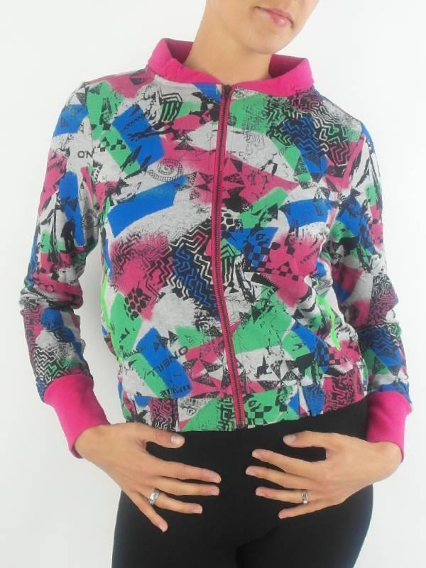 O'Neill Sweater Jacket Grey Pink Hood Pockets Elastic Band
