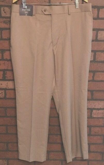 STAFFORD TAILORED CULTURE TRAVEL MEN/'S BIG /& TALL PLEATED PANTS NWT  TAN