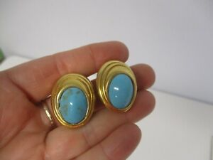 VINTAGE-SIGNED-CINER-GOLDTONE-with-TURQUOISE-CLIP-ON-EARRINGS-1-1-8-034